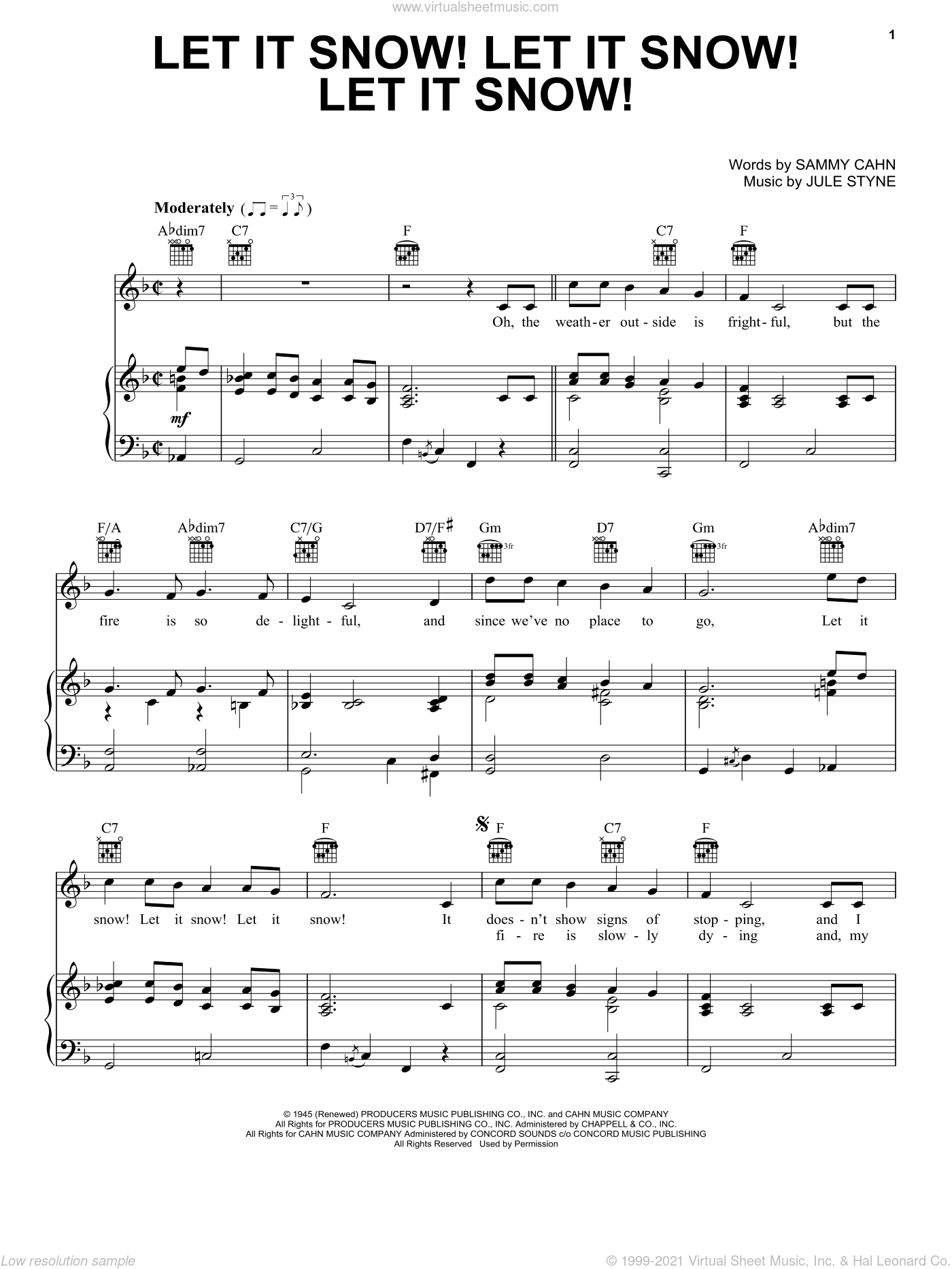 Let It Snow! Let It Snow! Let It Snow! sheet music for voice, piano or guitar by Jule Styne and Sammy Cahn. Score Image Preview.