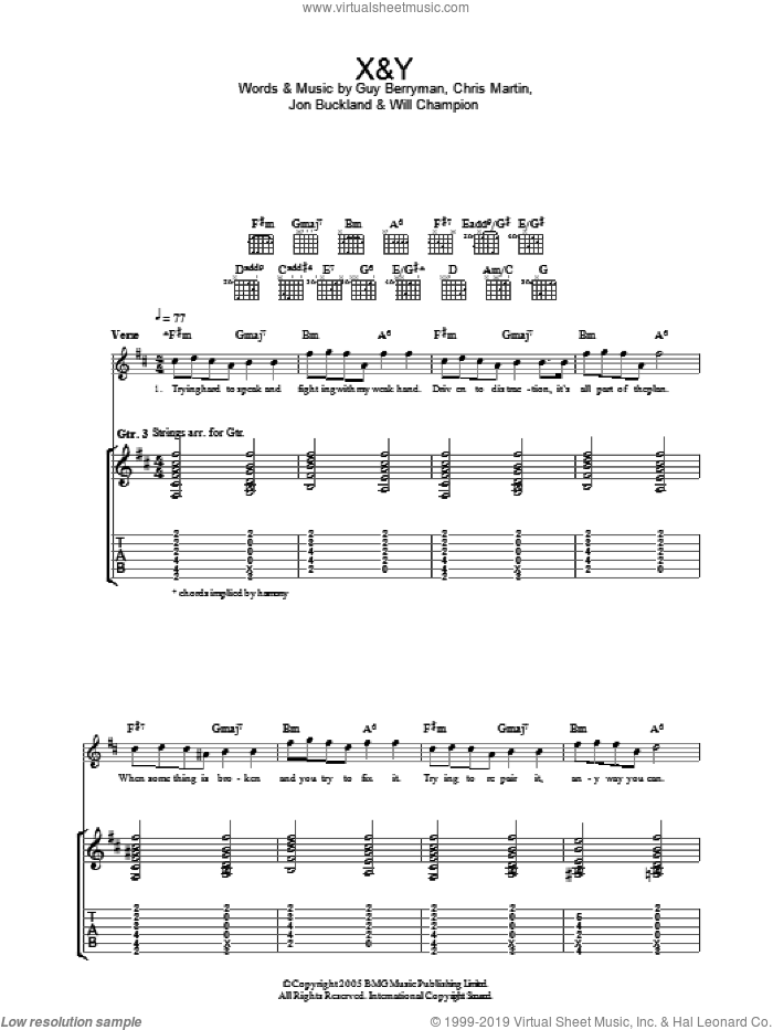 X&Y sheet music for guitar (tablature) by Coldplay, intermediate. Score Image Preview.