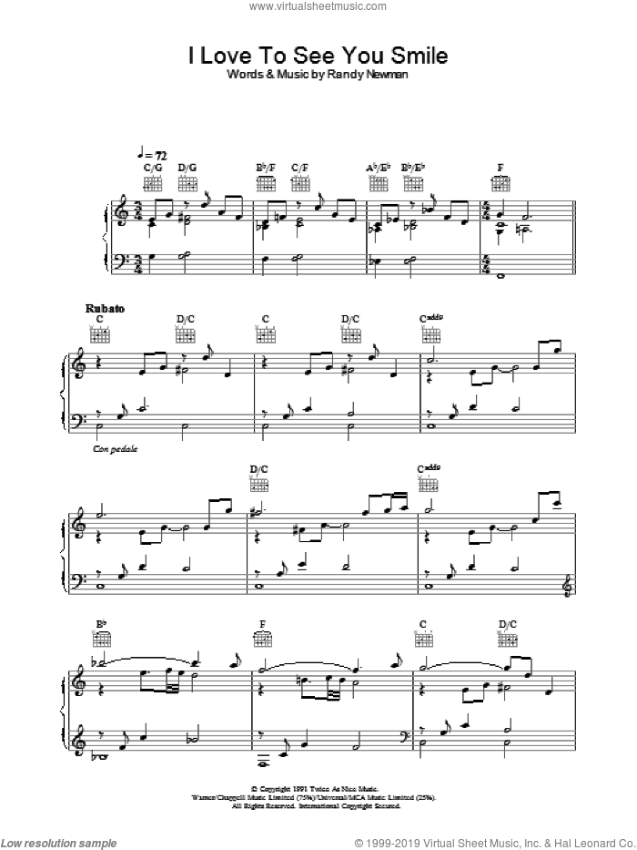 I Love To See You Smile sheet music for voice, piano or guitar by Randy Newman. Score Image Preview.