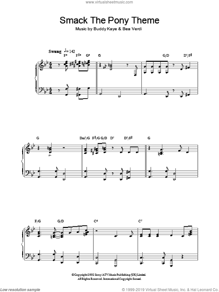 Smack The Pony Theme sheet music for piano solo by Buddy Kaye and Bea Verdi. Score Image Preview.