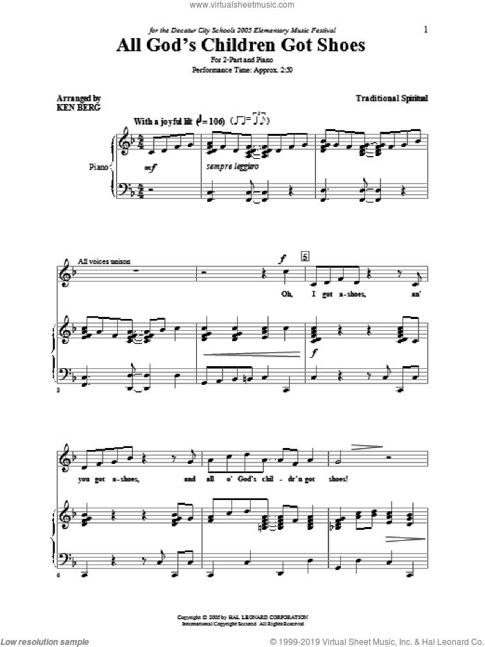 All God's Children Got Shoes sheet music for choir (2-Part) by Ken Berg and Miscellaneous, intermediate duet