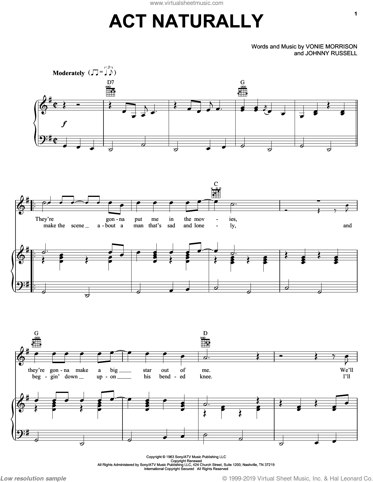 Act Naturally sheet music for voice, piano or guitar by Vonie Morrison