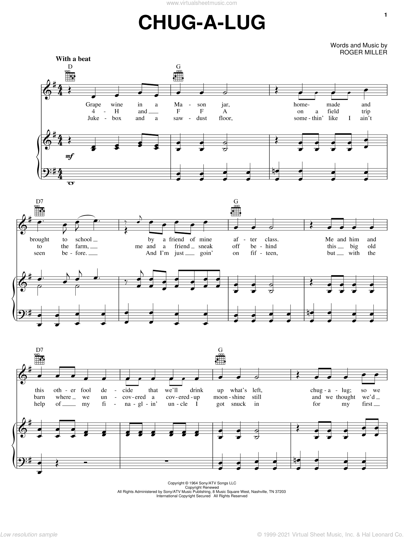 Chug-A-Lug sheet music for voice, piano or guitar by Roger Miller. Score Image Preview.