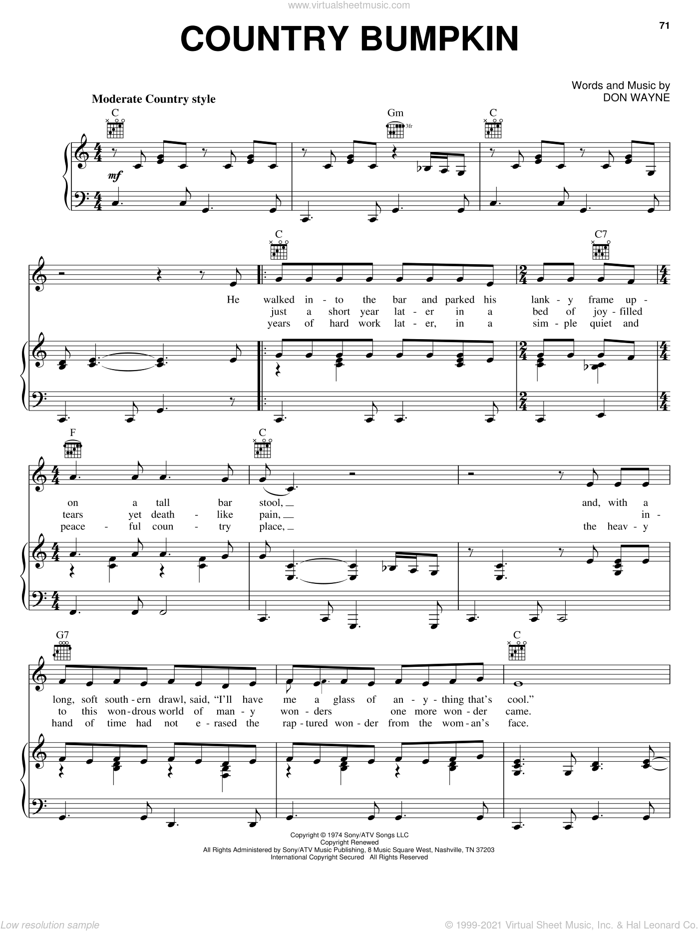 Country Bumpkin sheet music for voice, piano or guitar by Cal Smith, Hank Thompson and Don Wayne, intermediate. Score Image Preview.