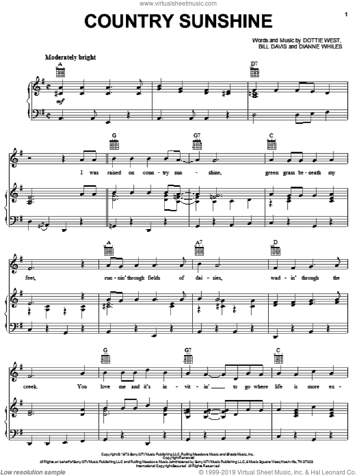 Country Sunshine sheet music for voice, piano or guitar by Dottie West, Bill Davis and Dianne Whiles, intermediate skill level