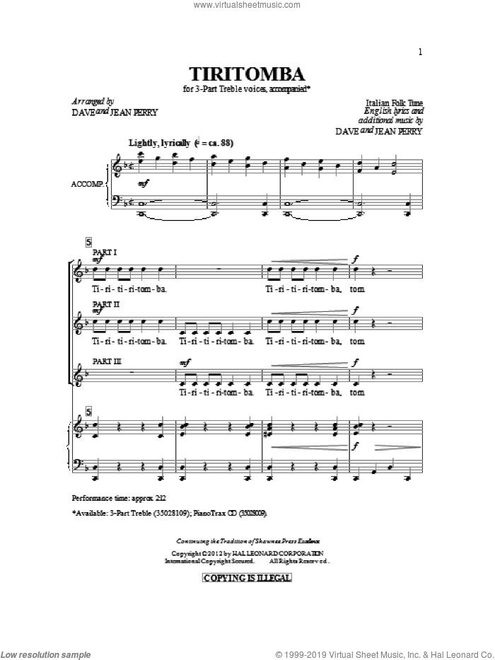 Tiritomba sheet music for choir (3-Part Treble) by Dave Perry and Jean Perry, intermediate skill level