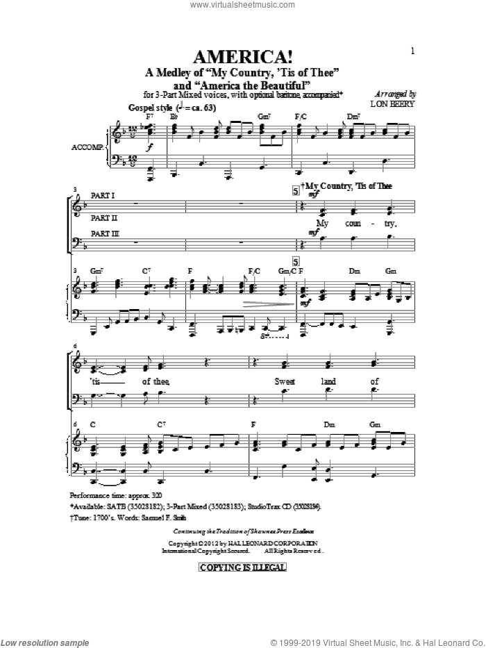 America! (Medley) sheet music for choir (3-Part) by Samuel Augustus Ward, Katherine Lee Bates, Samuel Francis Smith and Lon Beery, intermediate skill level