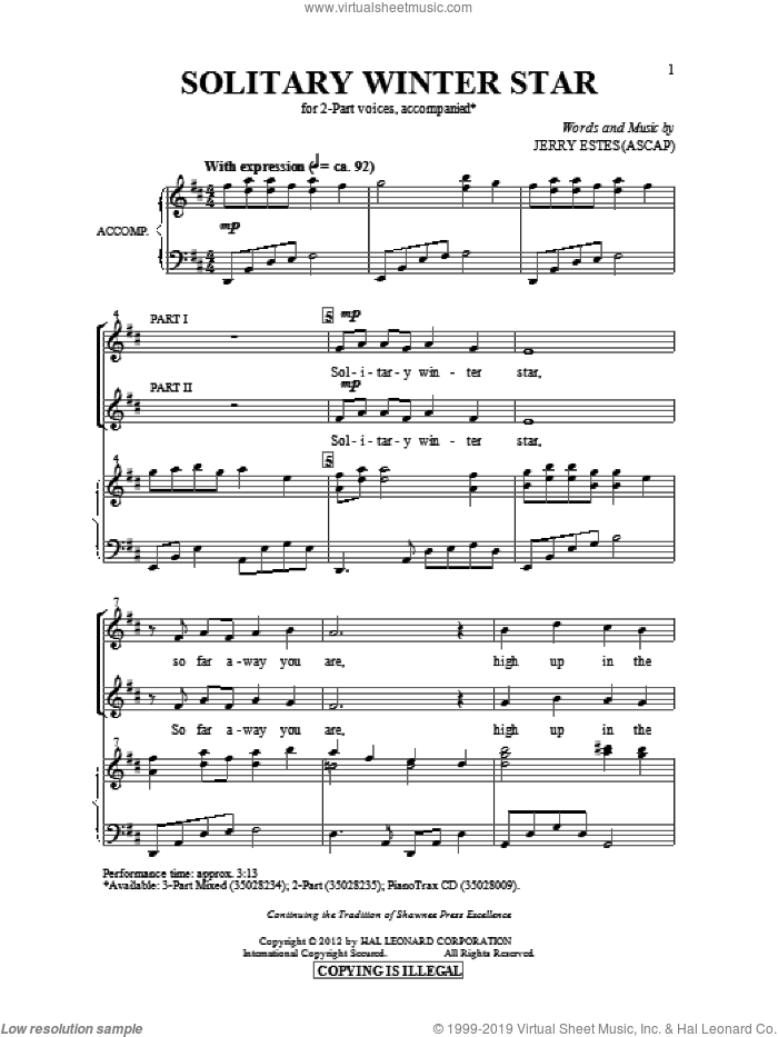 Solitary Winter Star sheet music for choir and piano (duets) by Jerry Estes