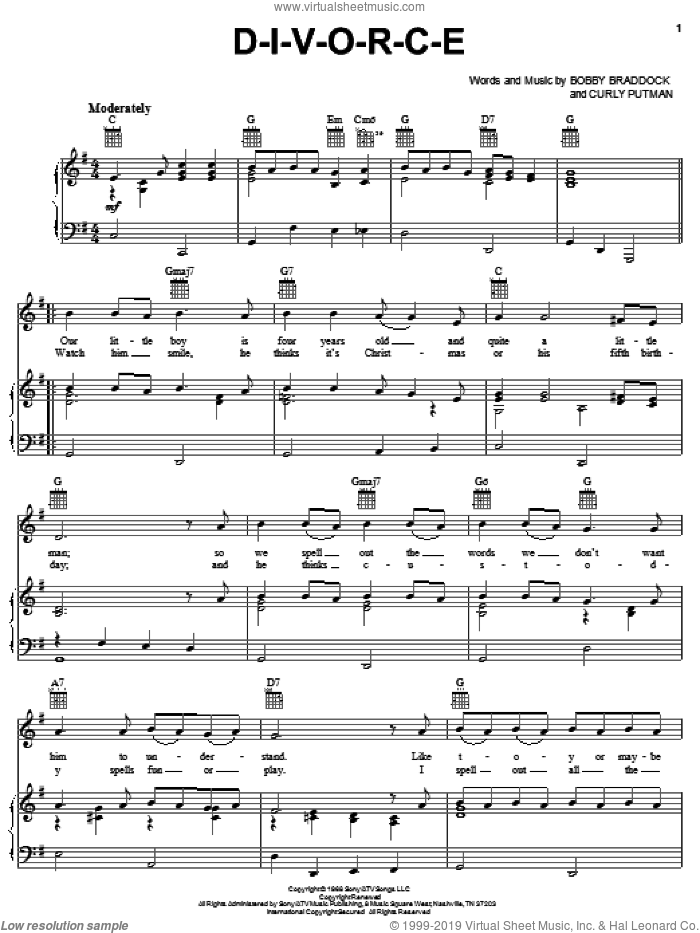 D-I-V-O-R-C-E sheet music for voice, piano or guitar by Curly Putman, Tammy Wynette and Bobby Braddock