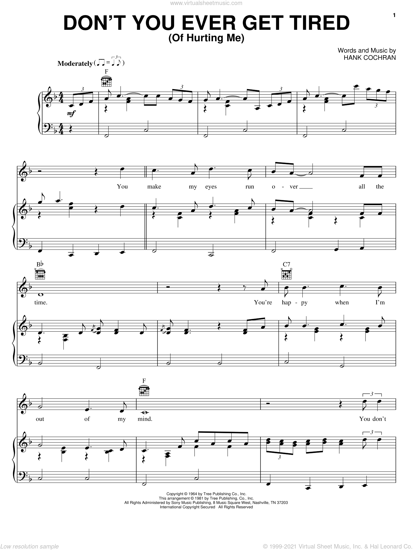Don't You Ever Get Tired (Of Hurting Me) sheet music for voice, piano or guitar by Willie Nelson, George Jones, Ray Price, Ronnie Milsap and Hank Cochran, intermediate skill level