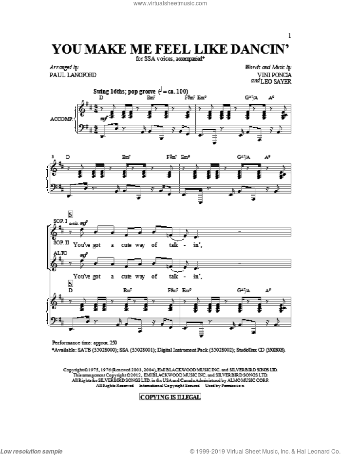 You Make Me Feel Like Dancing sheet music for choir and piano (SSA) by Leo Sayer, Paul Langford and Vini Poncia. Score Image Preview.