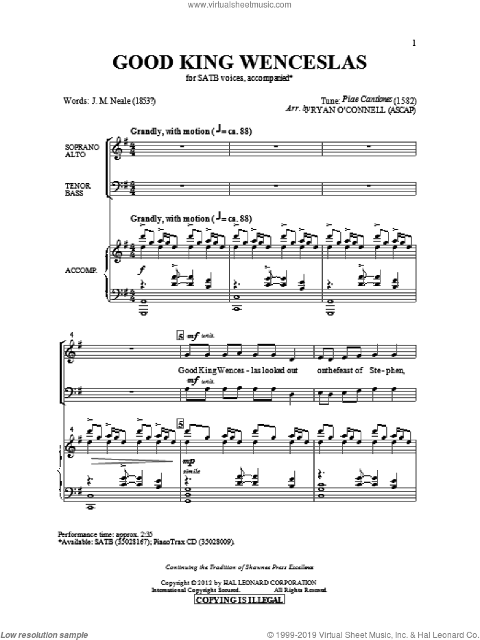 Good King Wenceslas sheet music for choir and piano (SATB) by John Mason Neale. Score Image Preview.