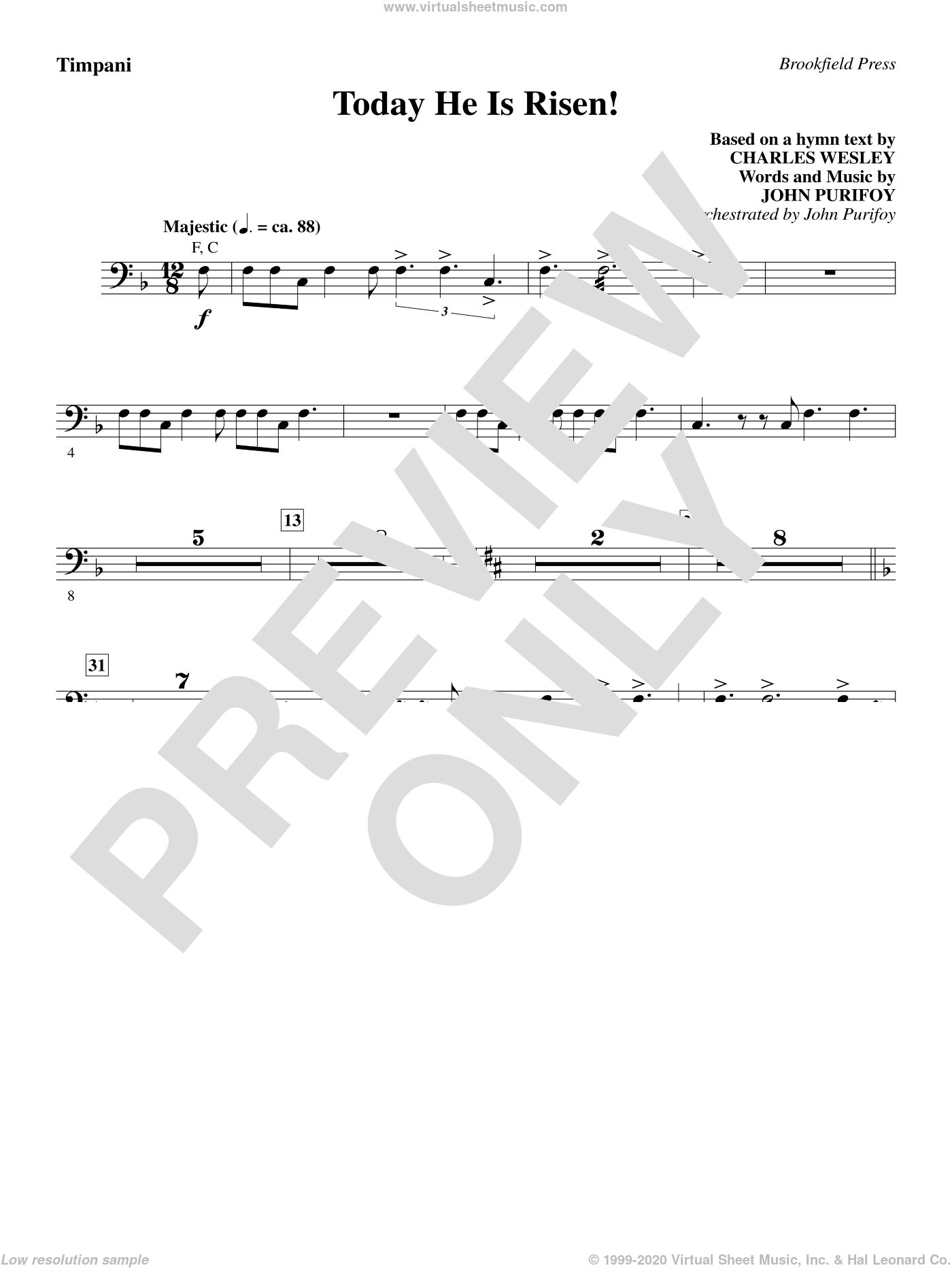 Today He Is Risen! sheet music for orchestra/band (timpani) by John Purifoy