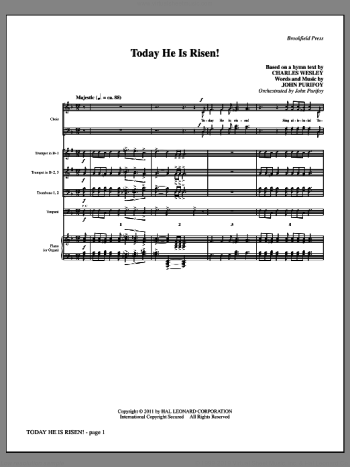 Today He Is Risen! (complete set of parts) sheet music for orchestra/band by John Purifoy and Charles Wesley, intermediate skill level