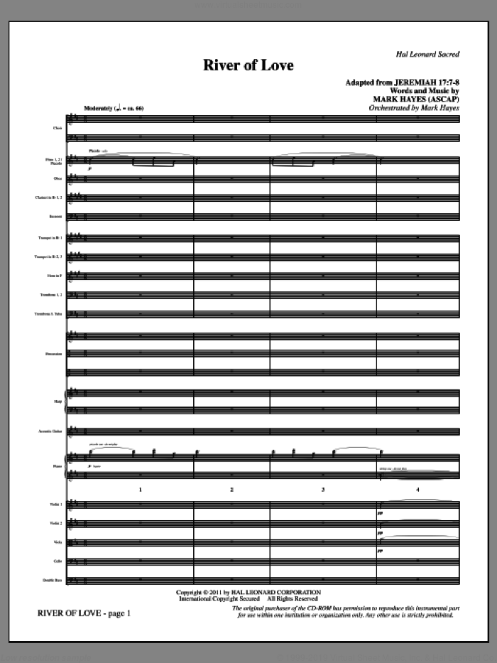 River Of Love (complete set of parts) sheet music for orchestra/band (Orchestra) by Mark Hayes, intermediate. Score Image Preview.