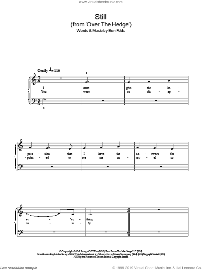 Still sheet music for piano solo by Ben Folds. Score Image Preview.