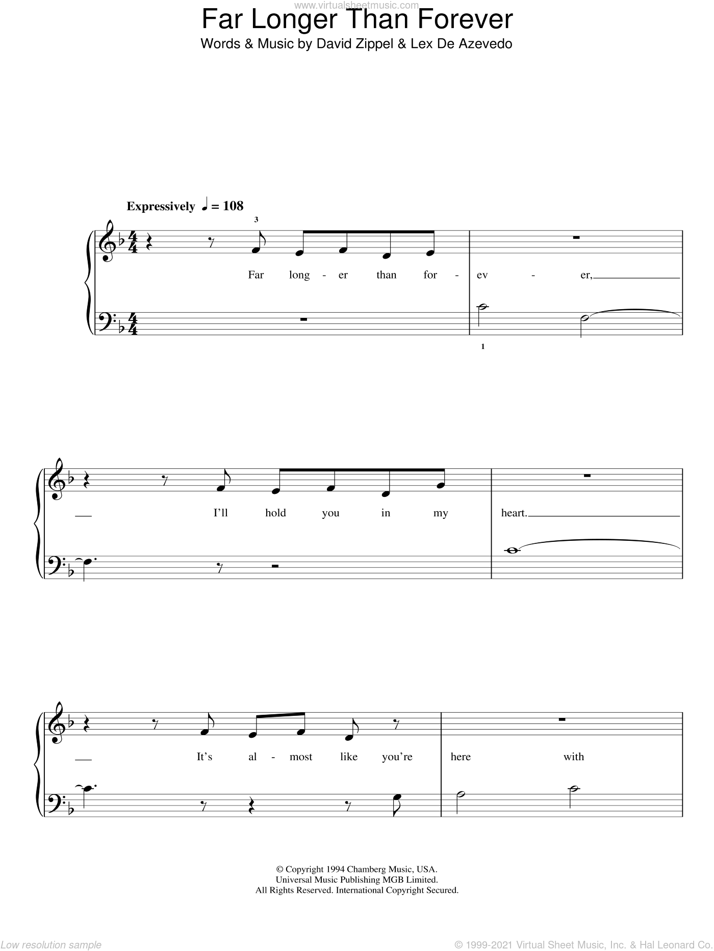 Far Longer Than Forever sheet music for piano solo by David Zippel and Lex De Azevedo, easy skill level