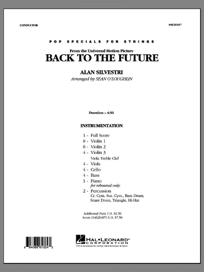 Back To The Future sheet music for orchestra (full score) by Alan Silvestri