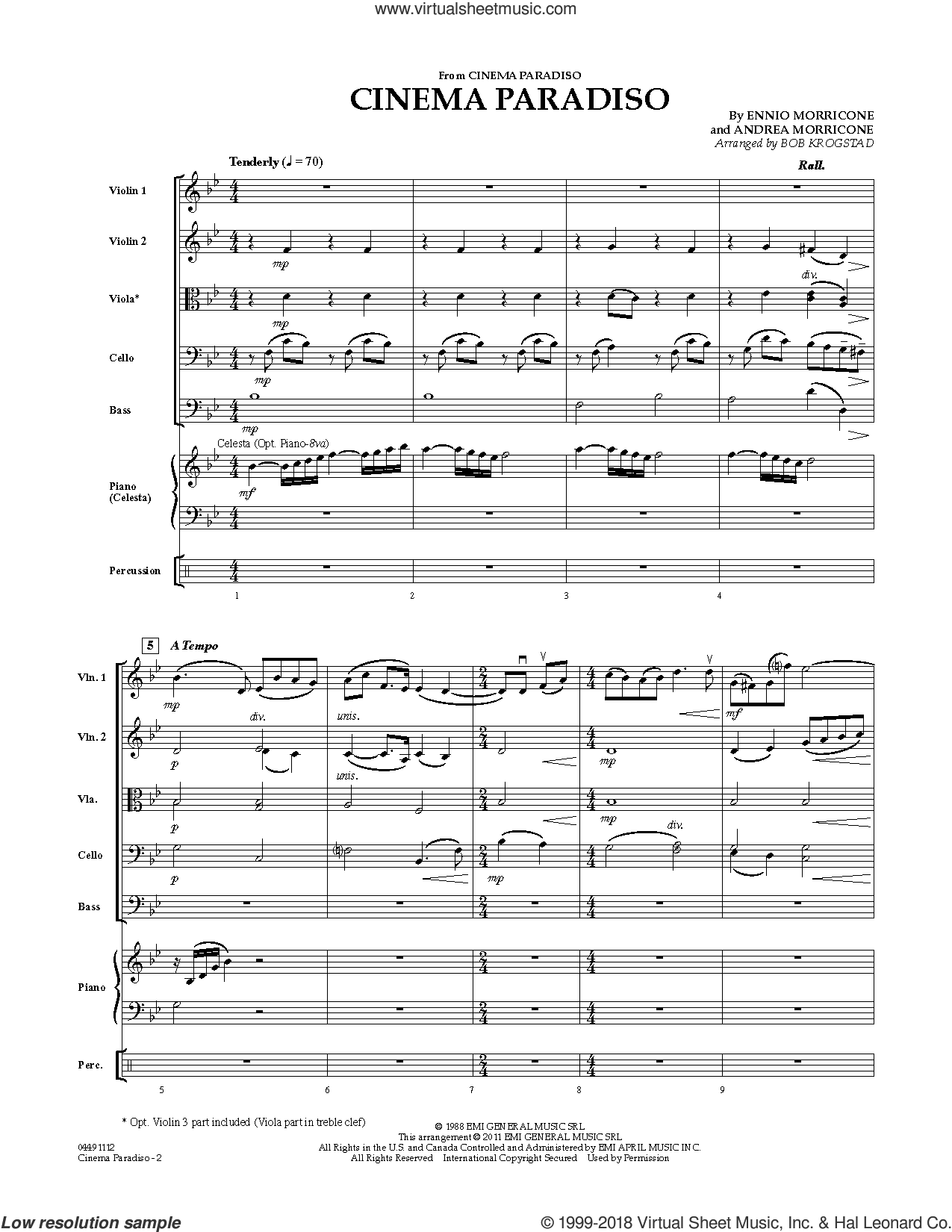 Cinema Paradiso (COMPLETE) sheet music for orchestra by Ennio Morricone, Andrea Morricone and Bob Krogstad, intermediate skill level