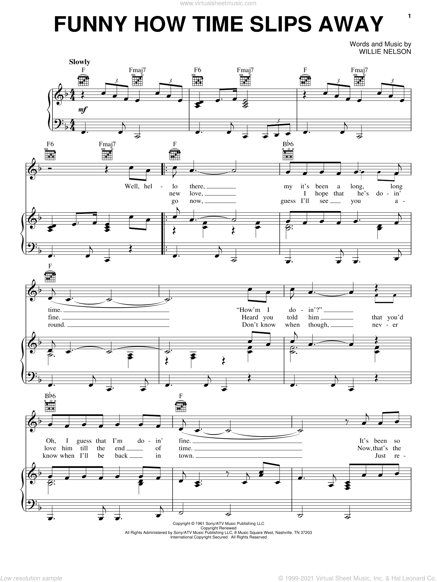 Funny How Time Slips Away sheet music for voice, piano or guitar by Elvis Presley, Billy Walker and Willie Nelson, intermediate skill level