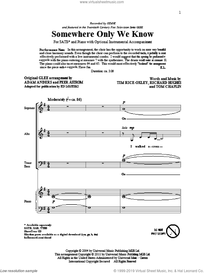 Somewhere Only We Know sheet music for choir (SATB) by Tim Rice-Oxley, Ed Lojeski, Glee Cast and Peer Astrom, intermediate choir (SATB). Score Image Preview.