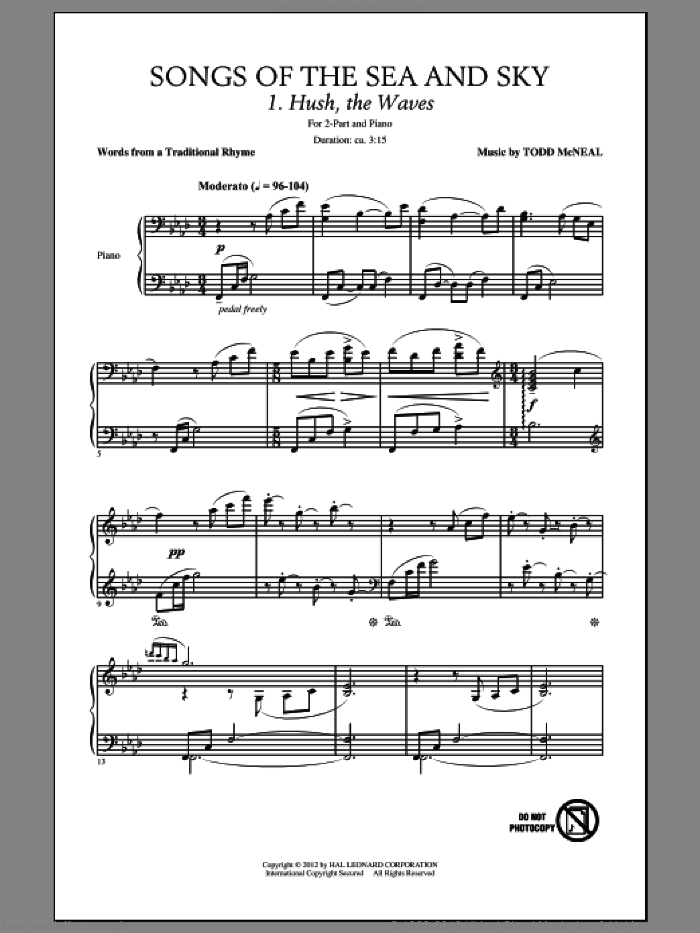 Songs Of The Sea And Sky sheet music for choir and piano (duets) by Traditional Rhyme. Score Image Preview.