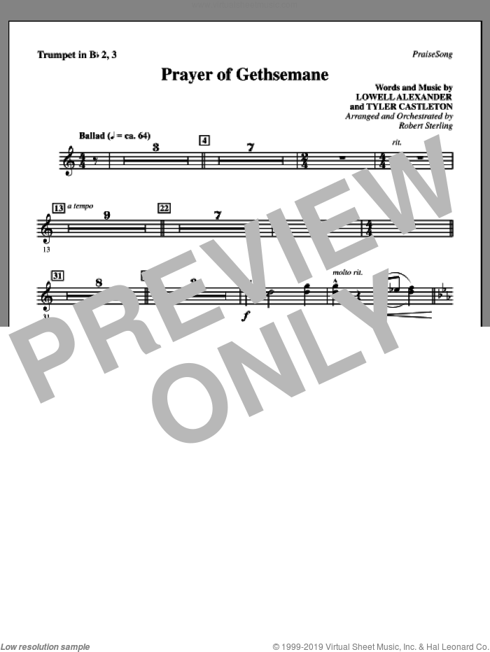 Prayer Of Gethsemane sheet music for orchestra/band (Bb trumpet 2,3) by Lowell Alexander