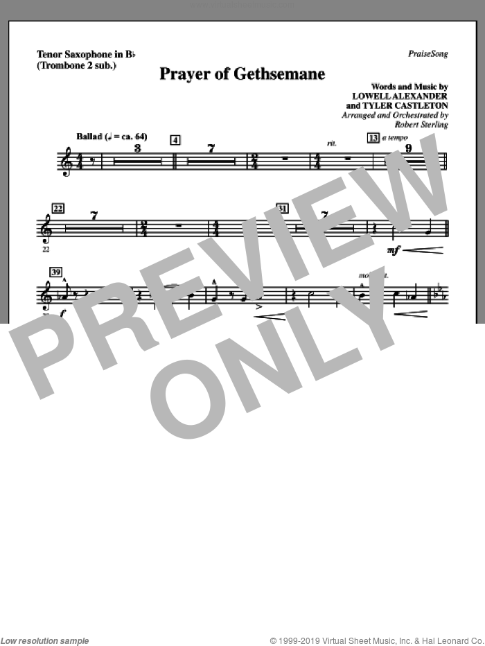 Prayer Of Gethsemane sheet music for orchestra/band (tenor sax, sub. tbn 2) by Lowell Alexander