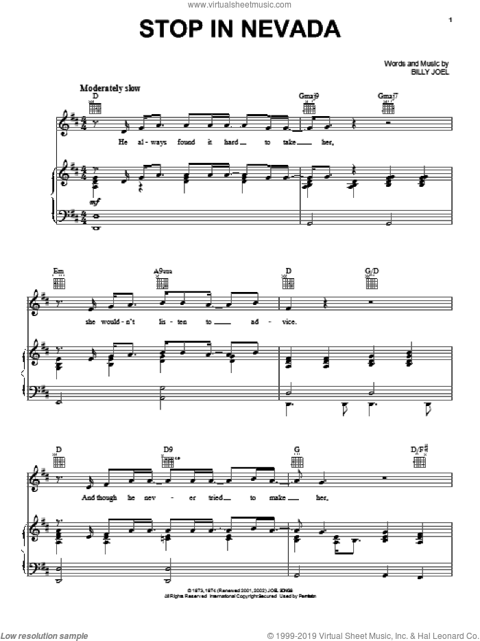 Stop In Nevada sheet music for voice, piano or guitar by David Rosenthal and Billy Joel. Score Image Preview.