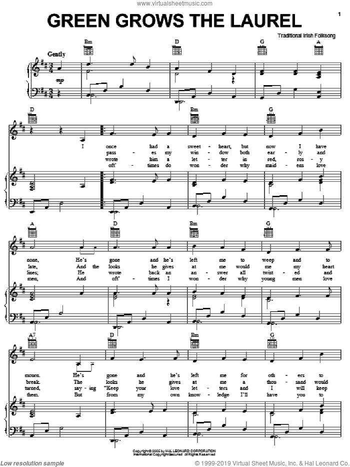 Green Grows The Laurel sheet music for voice, piano or guitar, intermediate. Score Image Preview.