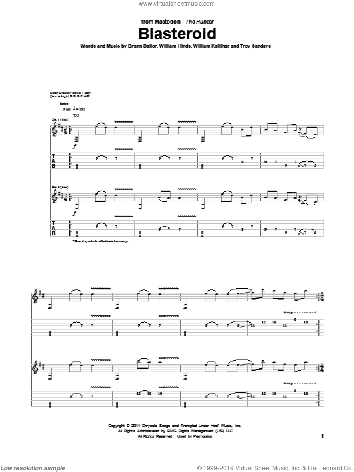 Blasteroid sheet music for guitar (tablature) by William Kelliher, Mastodon and Troy Sanders. Score Image Preview.