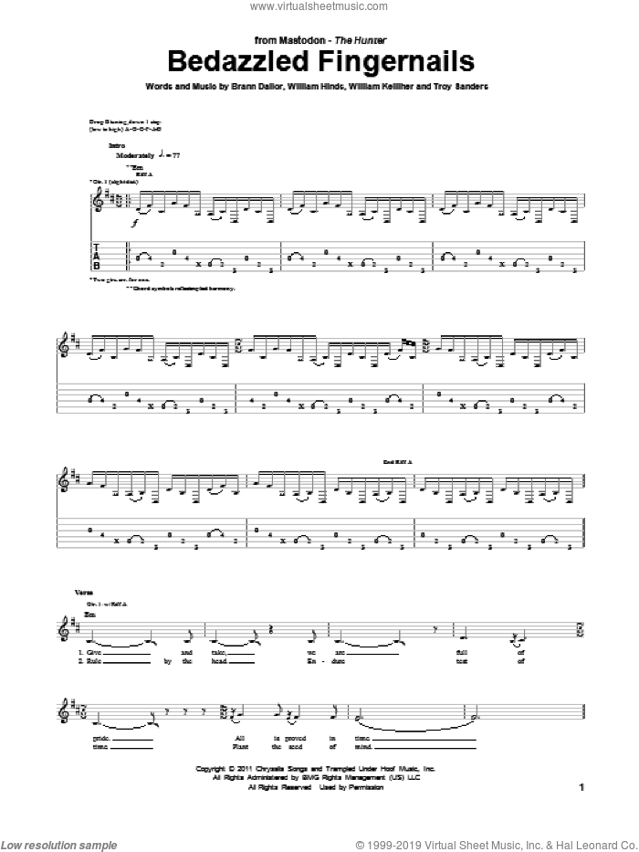 Bedazzled Fingernails sheet music for guitar (tablature) by Mastodon. Score Image Preview.