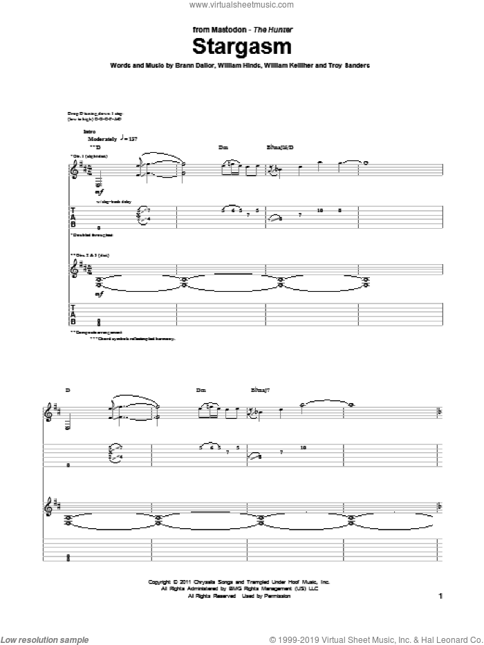 Stargasm sheet music for guitar (tablature) by William Kelliher, Mastodon and Troy Sanders. Score Image Preview.