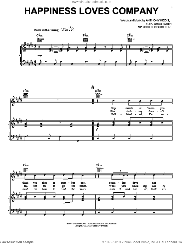Happiness Loves Company sheet music for voice, piano or guitar by Josh Klinghoffer, Red Hot Chili Peppers and Flea. Score Image Preview.