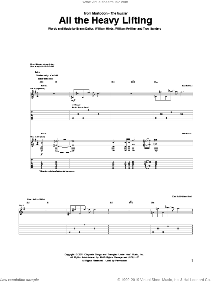 All The Heavy Lifting sheet music for guitar (tablature) by Mastodon, Brann Dailor, Troy Sanders, William Hinds and William Kelliher, intermediate. Score Image Preview.