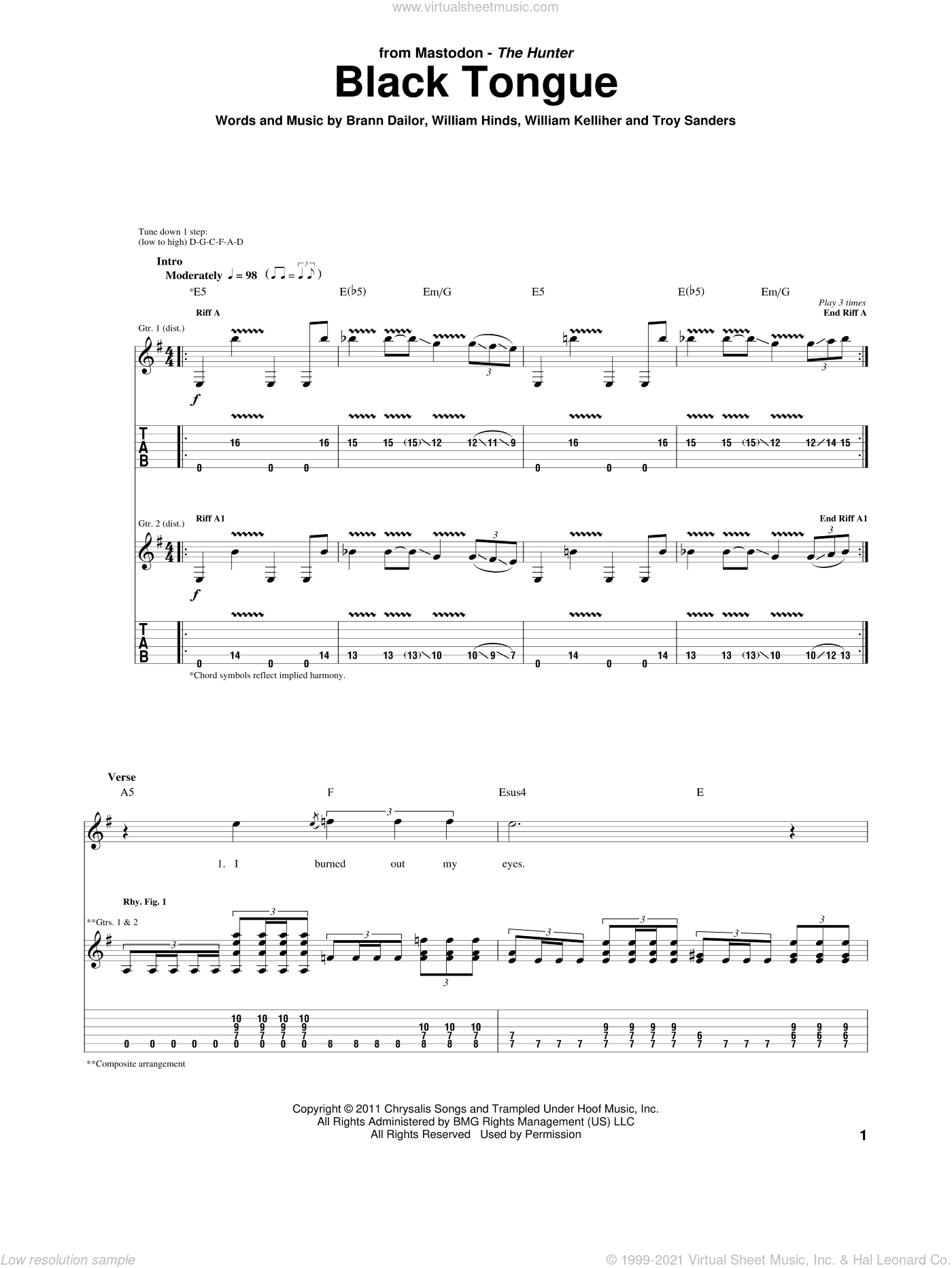 Black Tongue sheet music for guitar (tablature) by Mastodon, Brann Dailor, Troy Sanders, William Hinds and William Kelliher, intermediate