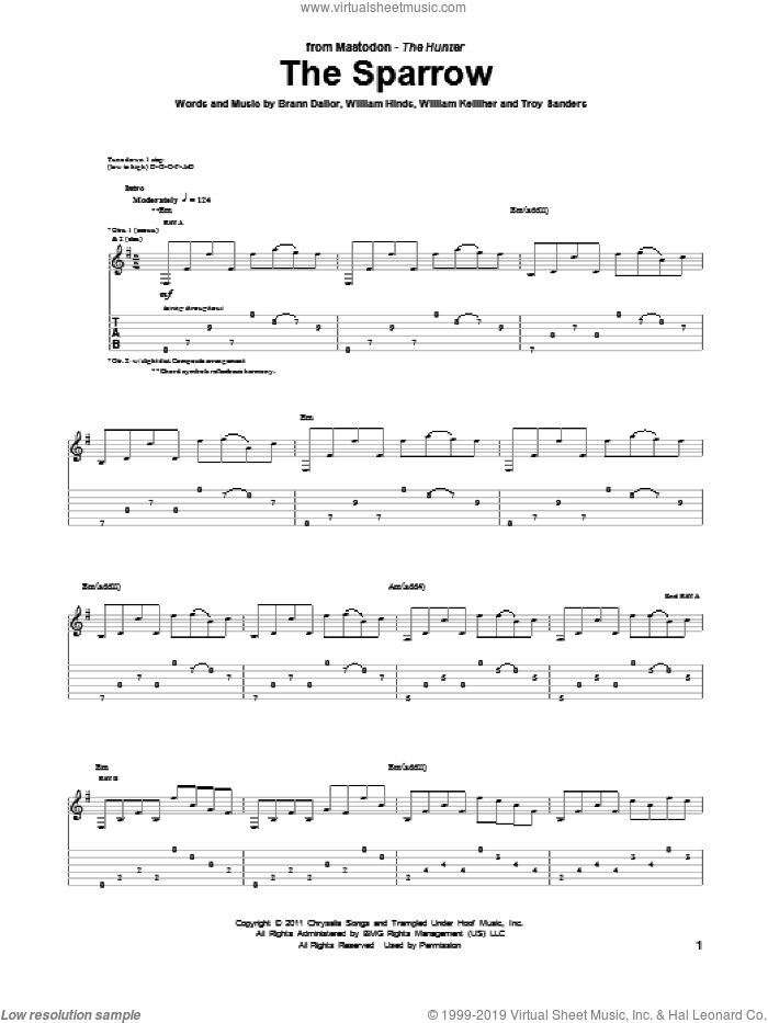 The Sparrow sheet music for guitar (tablature) by Mastodon. Score Image Preview.