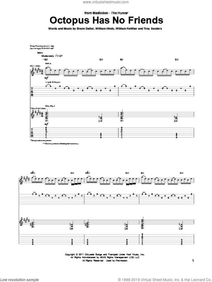 Octopus Has No Friends sheet music for guitar (tablature) by Mastodon, intermediate guitar (tablature). Score Image Preview.