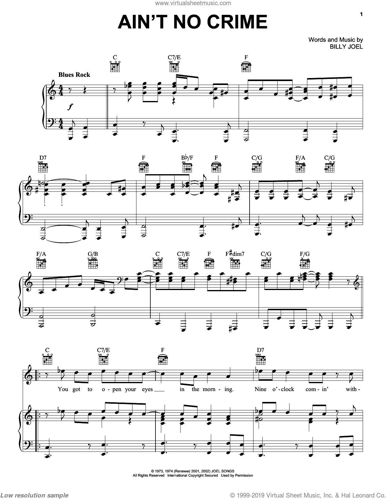 Ain't No Crime sheet music for voice, piano or guitar by Billy Joel and David Rosenthal, intermediate skill level