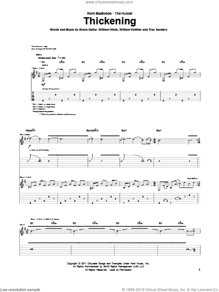 Thickening sheet music for guitar (tablature) by Mastodon, intermediate guitar (tablature). Score Image Preview.