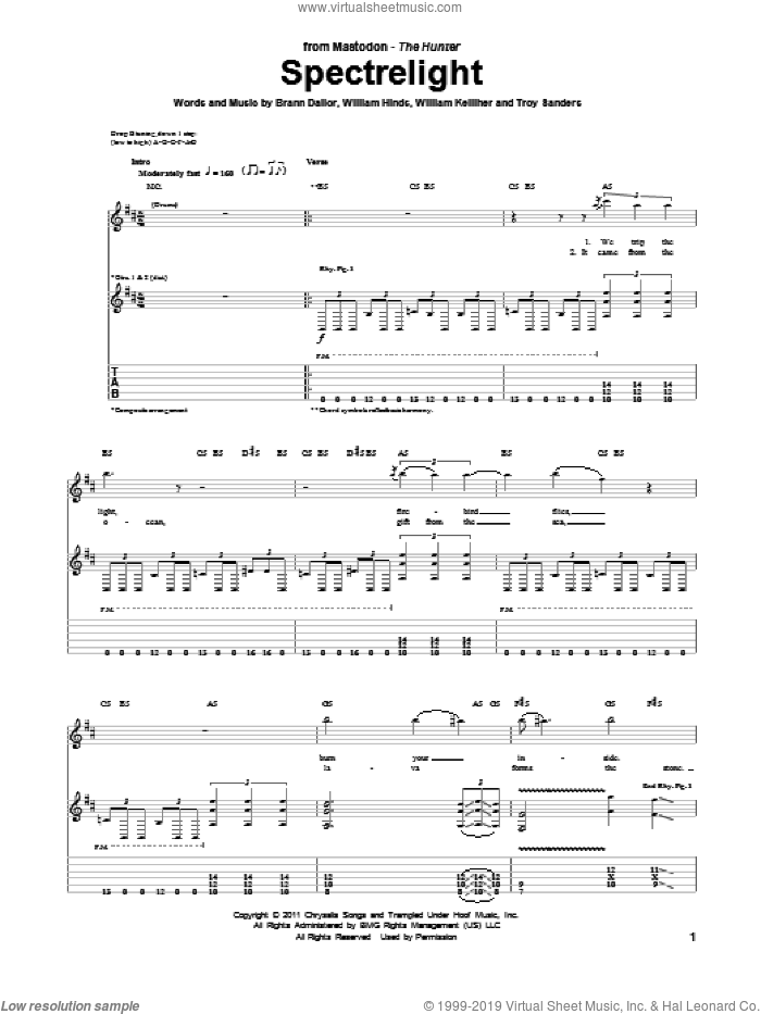 Spectrelight sheet music for guitar (tablature) by William Kelliher, Mastodon and Troy Sanders. Score Image Preview.