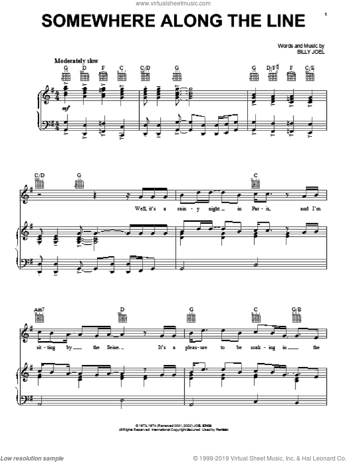Somewhere Along The Line sheet music for voice, piano or guitar by David Rosenthal