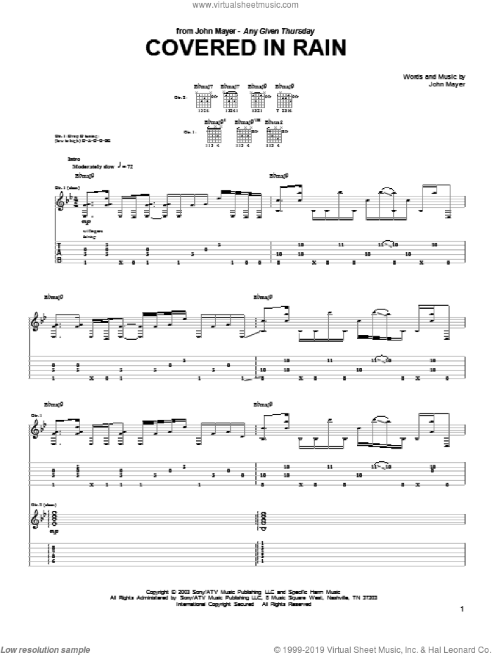 Covered In Rain sheet music for guitar (tablature) by John Mayer, intermediate skill level