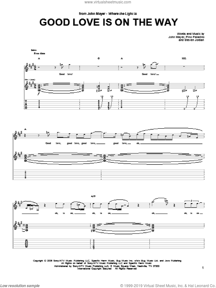 Good Love Is On The Way sheet music for guitar (tablature) by Steve Jordan and John Mayer. Score Image Preview.