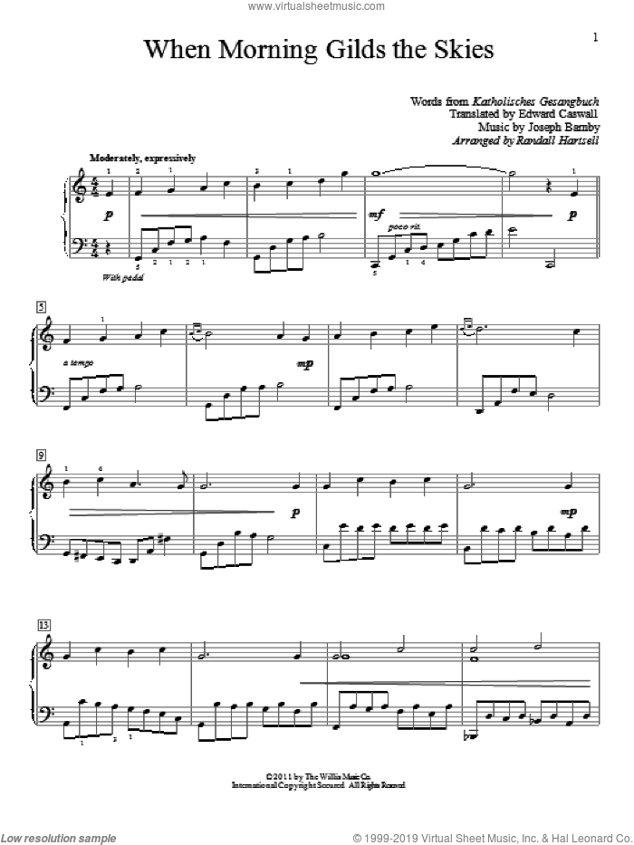 When Morning Gilds The Skies sheet music for piano solo (elementary) by Katholisches Gesangbuch, Randall Hartsell, Edward Caswall and Joseph Barnby. Score Image Preview.