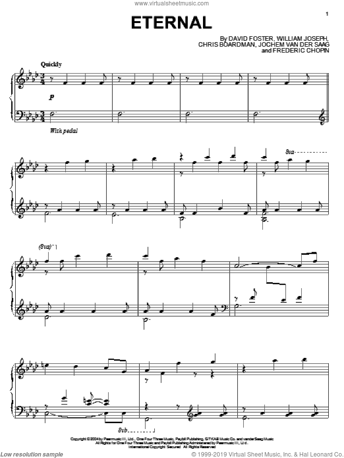 Eternal sheet music for piano solo by William Joseph, Chris Boardman, David Foster, Frederic Chopin and Jochem Van Der Saag, intermediate skill level