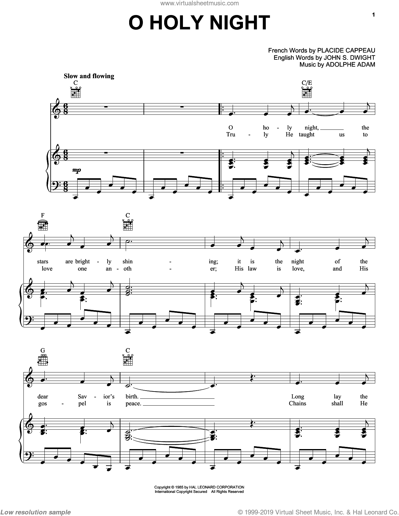 O Holy Night sheet music for voice, piano or guitar by Placide Cappeau