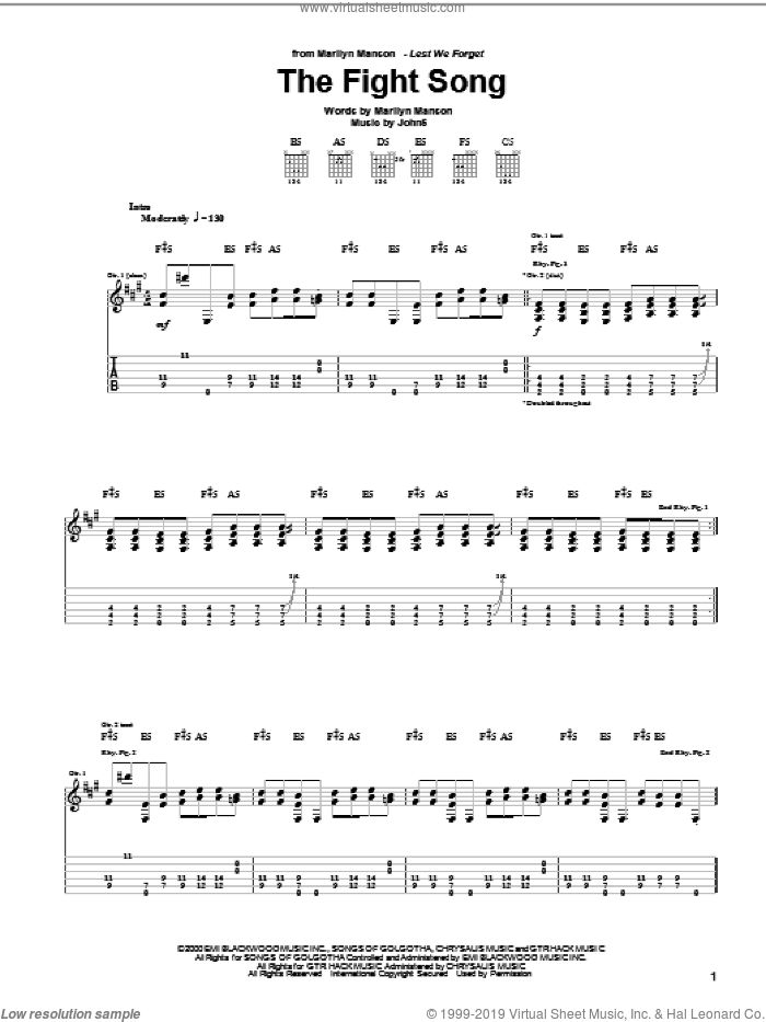 The Fight Song sheet music for guitar (tablature) by Marilyn Manson and John5, intermediate guitar (tablature). Score Image Preview.