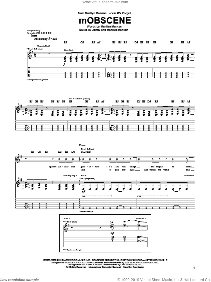 mOBSCENE sheet music for guitar (tablature) by Marilyn Manson and John5, intermediate. Score Image Preview.