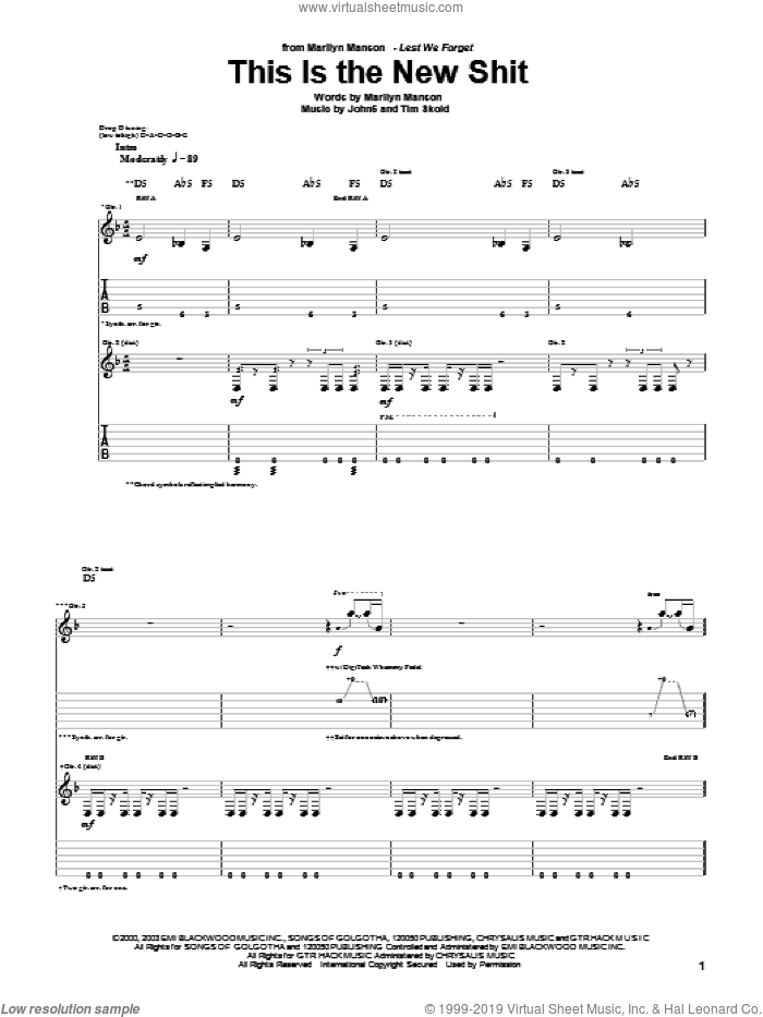 This Is The New Shit sheet music for guitar (tablature) by Tim Skold